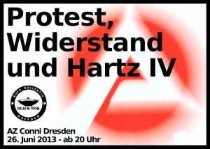 Flyer vorne protest, widerstand und hartz 4